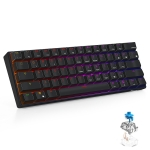RK61 61 Keys Bluetooth / 2.4G Wireless / USB Wired Three Modes Blue Switch Tablet Mobile Gaming Mechanical Keyboard with RGB Backlight, Cable Length: 1.5m (Black)