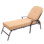 [US Warehouse] Adjustable Outdoor Steel Patio Chaise Lounge Chair with UV-Resistant Cushions, Size: 195x66x81cm