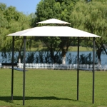 [US Warehouse] Outdoor Tented BBQ Canopy Grill Gazebo with Shelves & Metal Frame (Beige)