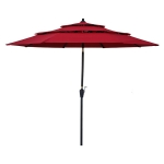 [US Warehouse] 3-Tiers Outdoor Patio Umbrella with Crank & Tilt & Wind Vents, Size: 9Ft (Red)