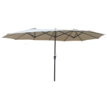 [US Warehouse] Outdoor Double-Sided Patio Umbrella with Crank & Wind Vents, Size: 15x9Ft (Brown)