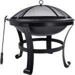 [US Warehouse] Outdoor Camping Beach Bonfire Picnic Garden Steel Wood Burning Fire Pit with Spark Screen Cover