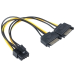 2 x SATA 15 Pin Male to Graphics Card PCI-e PCIE 8 (6+2) Pin Female Video Card Power Supply Cable