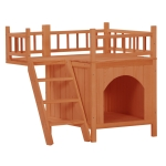 [US Warehouse] Pet Wooden Cat House Living House Kennel with Balcony,Size: 73x53x66cm