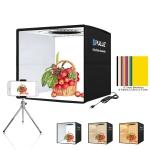 PULUZ 25cm Folding Portable 3 Modes Dual Color Temperature Ring Light Photo Lighting Studio Shooting Tent Box with 6 x Dual-side Color Backdrops, Size: 25cm x 25cm x 25cm (Black)