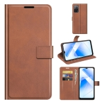 For OPPO A55 5G Retro Calf Pattern Buckle Horizontal Flip Leather Case with Holder & Card Slots & Wallet(Light Brown)