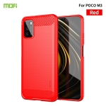 For Xiaomi Poco M3 / Redmi 9T MOFI Gentleness Series Brushed Texture Carbon Fiber Soft TPU Case(Red)