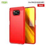 For Xiaomi POCO X3 / X3 NFC MOFI Gentleness Series Brushed Texture Carbon Fiber Soft TPU Case(Red)