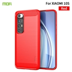 For Xiaomi Mi 10S MOFI Gentleness Series Brushed Texture Carbon Fiber Soft TPU Case(Red)