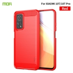 For Xiaomi Mi 10T / 10T Pro / Redmi  K30S MOFI Gentleness Series Brushed Texture Carbon Fiber Soft TPU Case(Red)