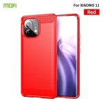 For Xiaomi Mi 11 MOFI Gentleness Series Brushed Texture Carbon Fiber Soft TPU Case(Red)