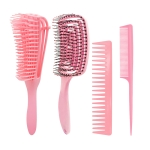 Hairdressing Comb Set Massage Comb Octopus Smooth Hair Anti-static Pointed Tail Comb(4 PCS/Set  Pink )