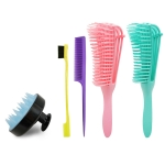 Octopus Massage Comb Silicone Shampoo Brush Beauty Eyebrow Brush Pointed Tail Comb Set