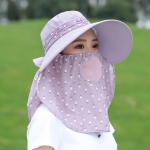 2 PCS Cherry Printing Isolation Cap Sunscreen Face-Covering Outdoor Travel Hat Cap, Colour: Half Cherry (Gray Purple)