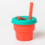 Children Silicone Straw Cups Drop And High Temperature Resistant Water Cups Red Cup + Green Cover(300ml)
