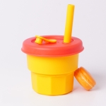 Children Silicone Straw Cups Drop And High Temperature Resistant Water Cups Yellow Cup + Red Cover(300ml)