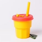 Children Silicone Straw Cups Drop And High Temperature Resistant Water Cups Yellow Cup + Red Cover(400ml)