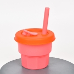 Children Silicone Straw Cups Drop And High Temperature Resistant Water Cups Cherry Blossom Pink Cup + Orange Cover(300ml)