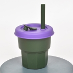 Children Silicone Straw Cups Drop And High Temperature Resistant Water Cups Ink Green Cup + Purple Cover(400ml)