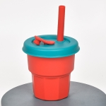 Children Silicone Straw Cups Drop And High Temperature Resistant Water Cups Dark Red Cup + Olive Green Cover(400ml)