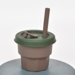 Children Silicone Straw Cups Drop And High Temperature Resistant Water Cups Brown Cup+Ink Green Cover(300ml)