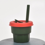 Children Silicone Straw Cups Drop And High Temperature Resistant Water Cups Ink Green Cup + Dark Red Cover(300ml)
