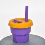 Children Silicone Straw Cups Drop And High Temperature Resistant Water Cups Purple Cup +Turmeric Cover(300ml)