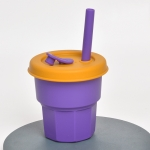 Children Silicone Straw Cups Drop And High Temperature Resistant Water Cups Purple Cup +Turmeric Cover(400ml)