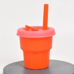 Children Silicone Straw Cups Drop And High Temperature Resistant Water Cups Orange Cup + Cherry Blossom Pink Cover(400ml)