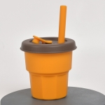Children Silicone Straw Cups Drop And High Temperature Resistant Water Cups Turmeric Cup+Brown Cover(400ml)
