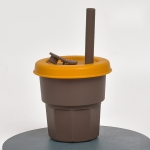 Children Silicone Straw Cups Drop And High Temperature Resistant Water Cups Brown Cup + Turmeric Cover(400ml)