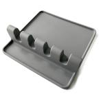 2 PCS Silicone Spoon Holder Kitchen Utensils Anti-Fouling Mat Drain Rack 4 Slot(Gray)