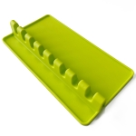 2 PCS Silicone Spoon Holder Kitchen Utensils Anti-Fouling Mat Drain Rack 8 Slot(Green)