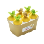 2 PCS Summer Carrot Potted Ice Cream Mold Homemade Ice Tray Rectangle(Yellow)