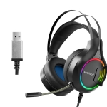 Smailwolf A1 Computer RGB Luminous Gaming USB Headset With Microphone(Black)