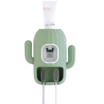2 PCS Cactus Automatic Squeezing Tooth Plaster Wall Mount Free Punching Bathroom Tooth Brush Storage Rack,Random Color Delivery