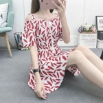 Women Strapless Short-sleeved Forest Dress (Color:1 Size:S)