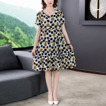Cotton Silk Floral Skirt Short Sleeve Loose Dress (XXL)