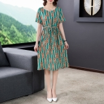 Ladies Loose And Thin Retro Art Dress (Color:Green Size:XXL)