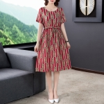 Ladies Loose And Thin Retro Art Dress (Color:Red Size:XXL)