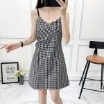 V-neck Letter Pattern Sexy Off-the-shoulder Slim Skirt (Color:Gray Size:S)