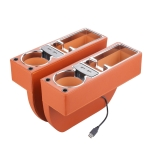 Car Multi-functional Dual USB Console PU Leather Box Cup Holder Seat Gap Side Storage Box (Brown)