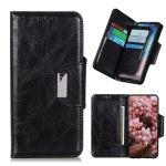 For OPPO F19 Crazy Horse Texture Magnetic Buckle Horizontal Flip Leather Case with Holder & 6-Card Slots & Wallet(Black)