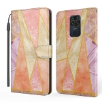 For Xiaomi Redmi Note 9 Marble TPU + PU Horizontal Flip Leather Case with Holder & Card Slots & Wallet & Photo Frame & Lanyard(Pink Purple)