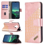 For Nokia 1.4 Matching Color Crocodile Texture Horizontal Flip PU Leather Case with Wallet & Holder & Card Slots(Rose Gold)