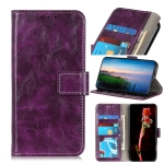 For OPPO A55 5G / A53s 5G Retro Crazy Horse Texture Horizontal Flip Leather Case with Holder & Card Slots & Photo Frame & Wallet(Purple)