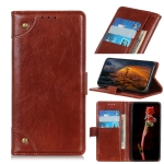 For OPPO A55 5G / A53s 5G Copper Buckle Nappa Texture Horizontal Flip Leather Case with Holder & Card Slots & Wallet(Brown)