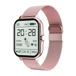 GT20 1.69 inch TFT Screen IP67 Waterproof Smart Watch, Support Music Control / Bluetooth Call / Heart Rate Monitoring / Blood Pressure Monitoring, Style:Steel Strap(Pink)