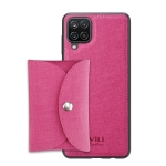 For Samsung Galaxy A12 ViLi T Series TPU + PU Woven Fabric Magnetic Protective Case with Wallet(Rose Red)