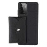 For Samsung Galaxy A72 5G ViLi T Series TPU + PU Woven Fabric Magnetic Protective Case with Wallet(Black)